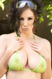 Gorgeous brunette, Jelena Jensen, shows off her incredible big boobs and hot curves in her Sheer see thru bikini. It´s like not wearing a bikini at all!