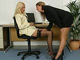 Watch two stunning lesbian secretaries secret office affair