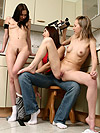 Watch innocent lesbian threesome fucking in the kitchen