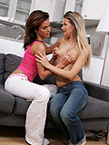 See two teens lick and fondle in sensual lesbian lovemaking