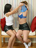 Teens in short skirts masturbating and kissing each other