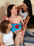 Hot little teens let you watch their sizzing three way kiss