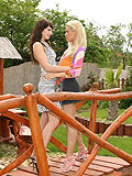 Sexy lesbians lick throbbing wet pussy in outdoor sixtyniner