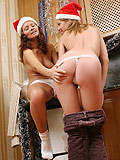 See santas naughty elves give dildos to pussies for Xmas
