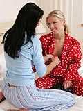A pyjama party heats up when the girls try strap-on pleasure