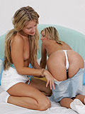 Angelic girls experience first time with double-ended dildo