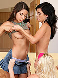 Alluring teens strip finger and lick tight juicy snatches