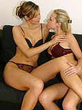 Two excited lesbian teens toying and kissing each other