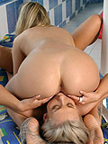 Sultry blondes tongue soaking quims in poolside sixtyniner