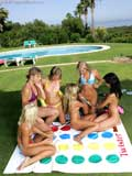Watch six gorgeous outdoor lesbian teens playing twister