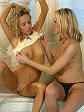 Luscious blondes lick pink quims in sultry twosome poolside