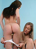 Lustful lesbians tenderly kiss and dildo shaved wet twats
