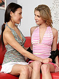 Enticing lesbians lustily lick and rub slick twats on couch