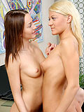 Alluring blonde and brunette touch and lick pink pussies