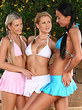 Enticing trio laps and dildos craving wet holes poolside