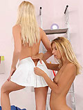 Pretty blondes tender moments with twoway dildo in wet pussy