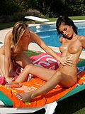 Enjoy poolside pussy action between slippery young teens