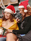 Fiery redheads dildo tight wet pussies as a christmas gift