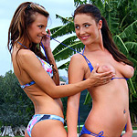 Sizzling teens drop bikinis and toy tight holes poolside