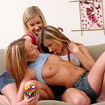 Delightful teen trio nudes and dildos pink pussies on couch