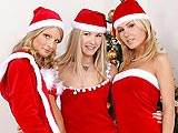 Alluring blonde trio lick and use strapon on tight holes