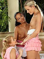 Exquisite teen trio nudes and fists tight quims on balcony