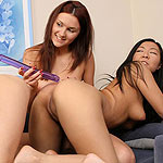 Alluring teen trio eagerly dildos tight wet quims on couch