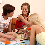 Delightful teen trio nudes and dildos dripping quims in bed