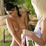 Gorgeous teens nude and finger pink pussies in the park