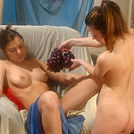 Sensual lovers lustily eat grapes and dripping wet pussies