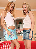 Angelic blondes rub lap and dildo tender twats on couch