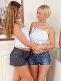 Alluring blonde teens  plunge strapon deep inside wet holes