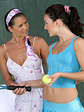 Gorgeous honeys nude and make sweet  love on tennis court