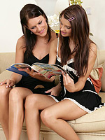 Dazzling brunettes kiss and bang twats in wild strapon romp