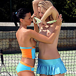 Sizzling tennis players nude and have sweet sex on court