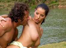 Threesome by the lagoon