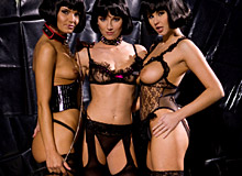 Three brunettes playing