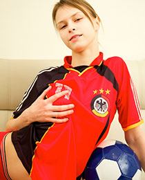 Young naughty soccer fan