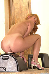 Horny babe Serena enjoys the Sybian