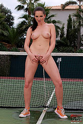 Sandra Shine posing on tennis court
