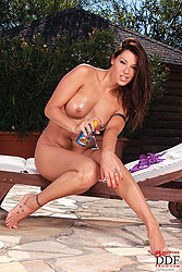 Cindy Hope fingering pussy outdoors