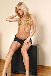 Slim hot blonde Katty stripteasing