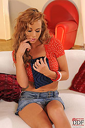 Hot young Ava Blue with glass dildo
