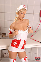 Hot blonde nurse Maya stripteasing