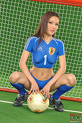 Naked sexy fan Agnes playing soccer