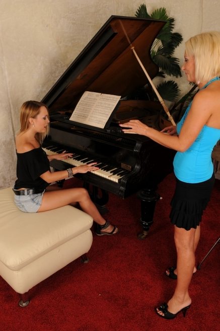 Blue Angel got punished by her old piano teacher