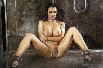 Busty Aletta is stripping posing n takes a shower