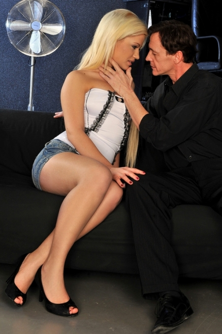 Sexy blonde babe Bibi Noel sitting on a hard cock
