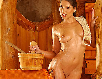 Zafira is fingering all her holes in the sauna