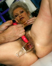 Granny wears fancy lingerie n forced to masturbate
